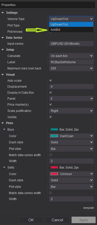 RCBuySellVolume - settings - AskBid selection