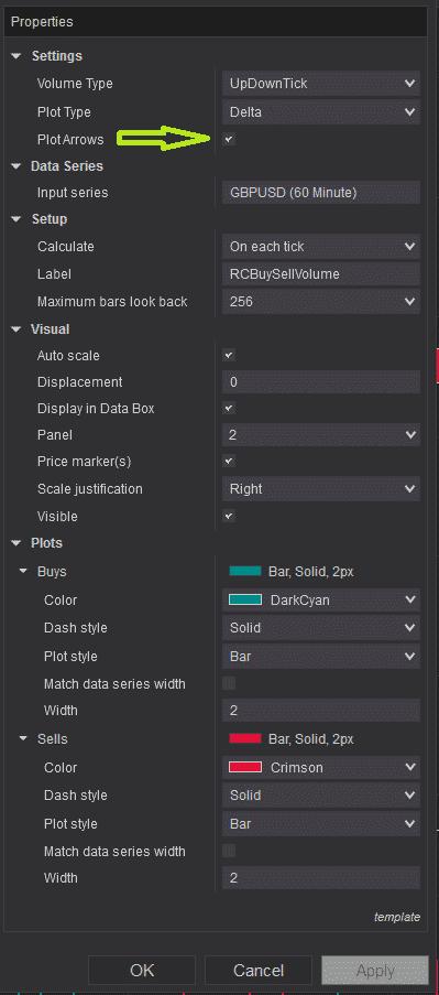 RCBuySellVolume - settings - plot arrows selection