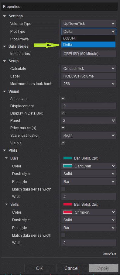 RCBuySellVolume - settings - plot type - Delta selection
