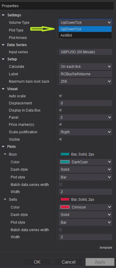 RCBuySellVolume - settings - updowntick selection