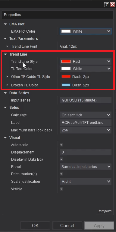 RCFreeMultiTFTrendLine - Customize TL plots