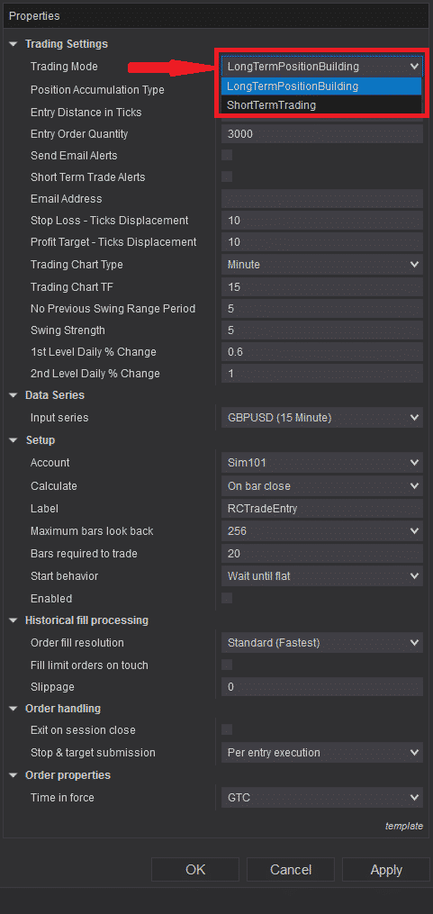 RCTrade Entry - Settings - Trading Mode options