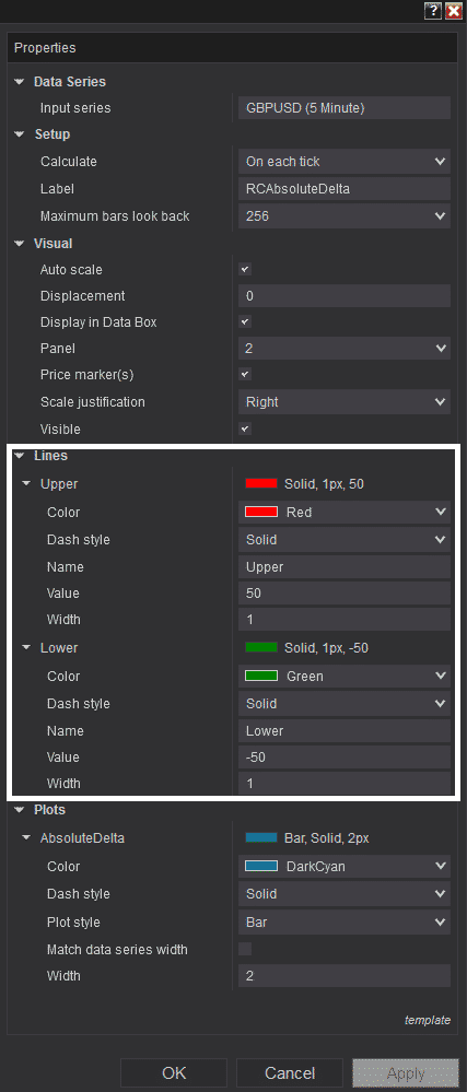 RCAbsoluteDelta - Settings Line Color style change