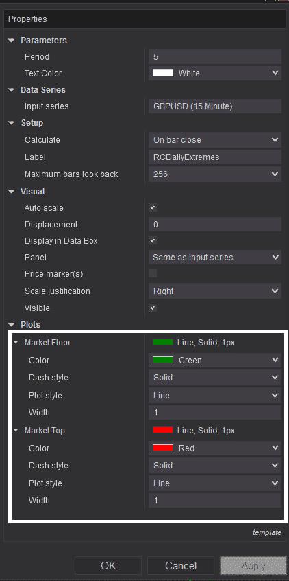 RCDailyExtremes - Settings plots color customization