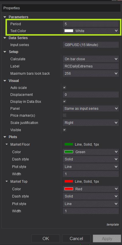 RCDailyExtremes - Settings parameters